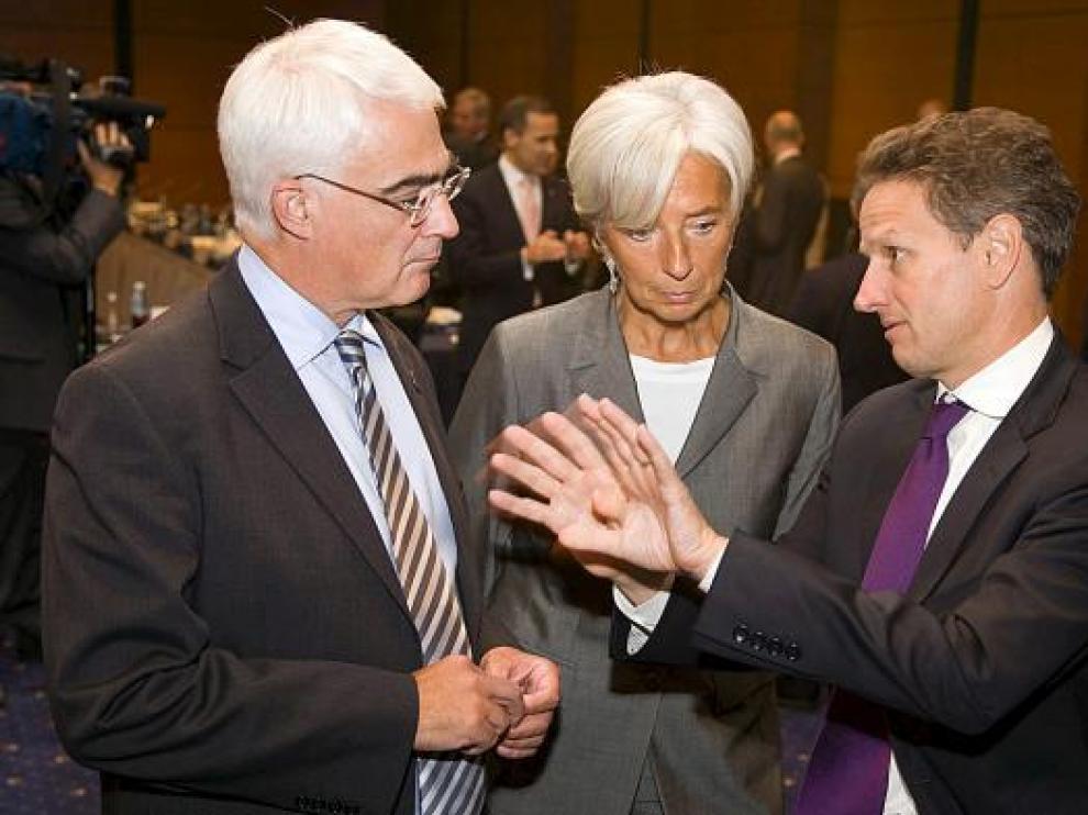 Campbell, Lagarde y Geithner, responsables de Finanzas británico, francesa y de Estados Unidos.