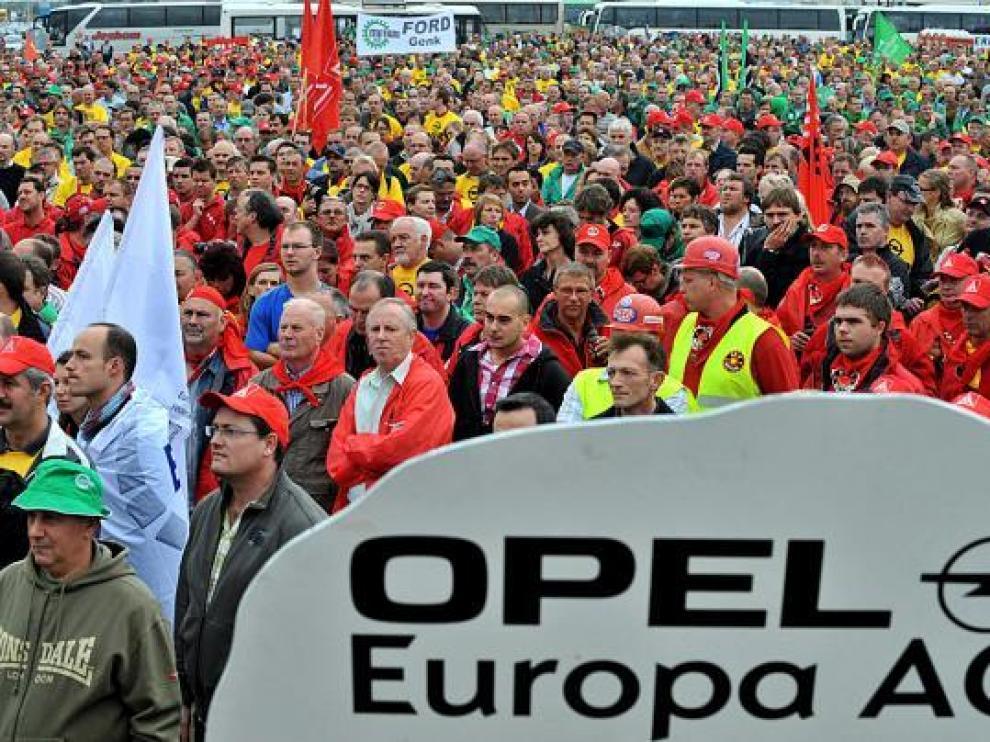 Imagen de la concentración ante la planta de GM en Amberes, el pasado 23 de septiembre.