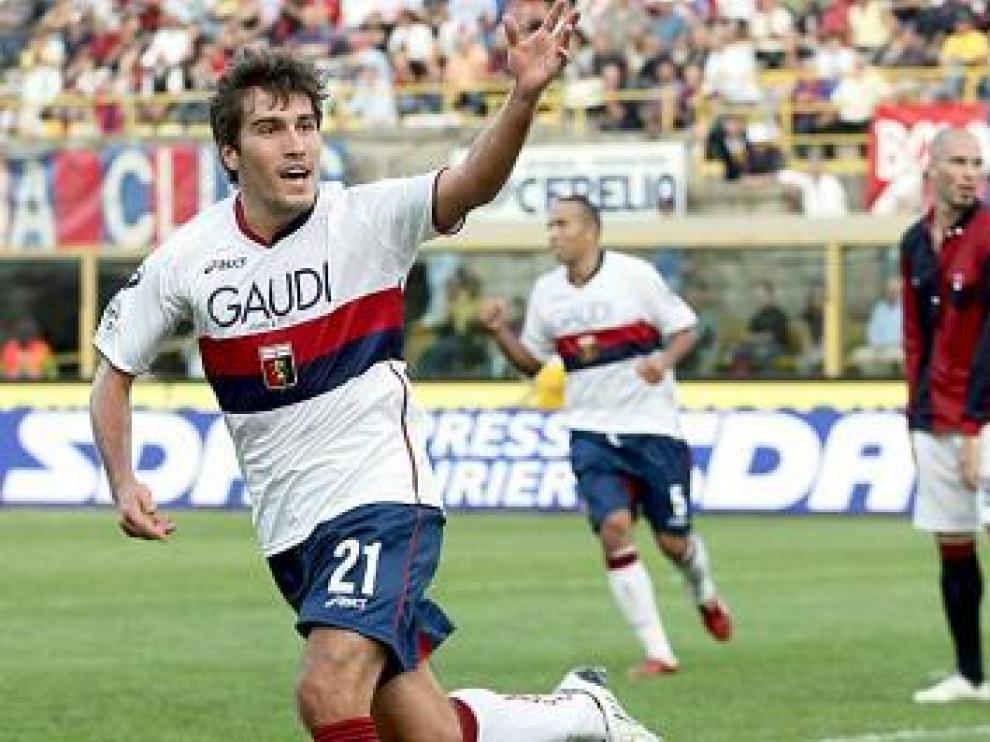 Zapater celebra su gol en Bolonia.