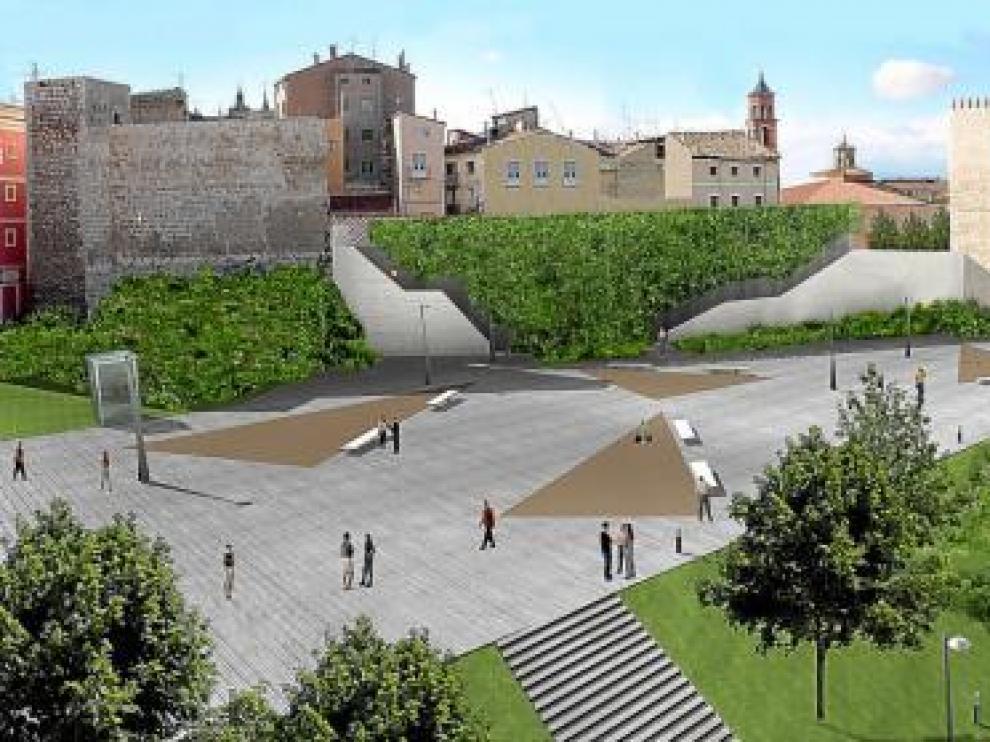 Recreación infográfica de la plaza prevista con el soterramiento del tráfico en la ronda de Ambeles