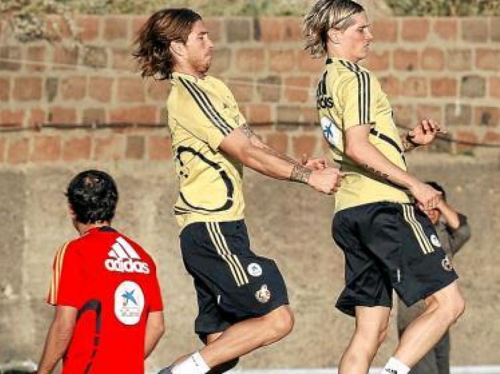 Ramos y Torres, en el entrenamiento de ayer.