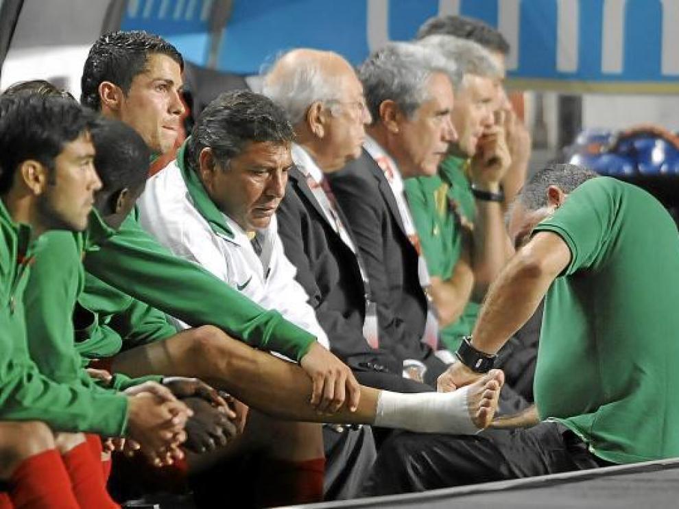 Cristiano Ronaldo, con su maltrecho tobillo.