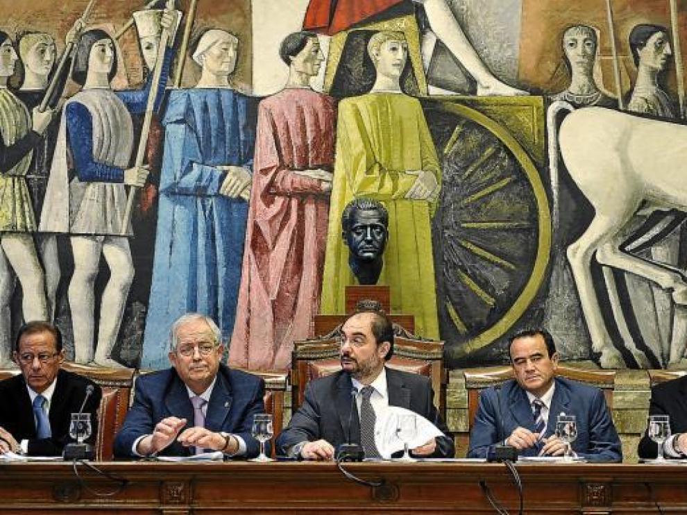Imagen de un pleno de la Diputación Provincial de Zaragoza de marzo de este año.