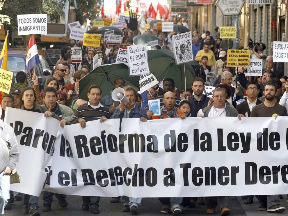Manifestantes por el centro de Madrid
