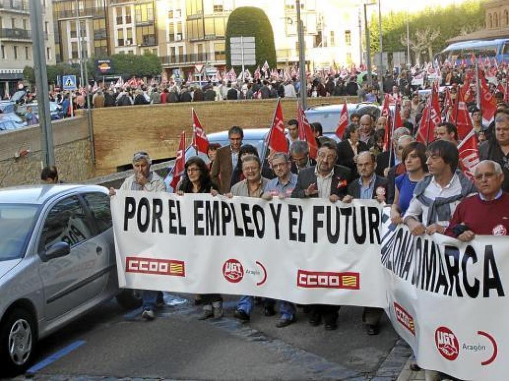 Cabecera de la manifestación, ayer por la tarde en Tarazona.