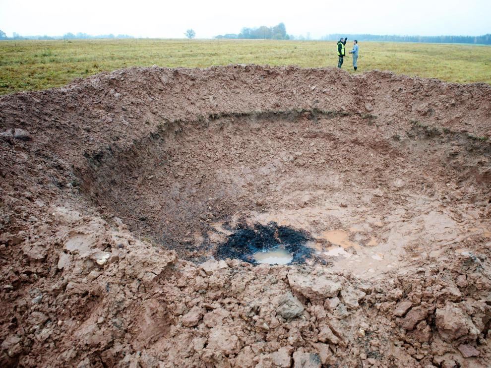 Crater abierto por el impacto