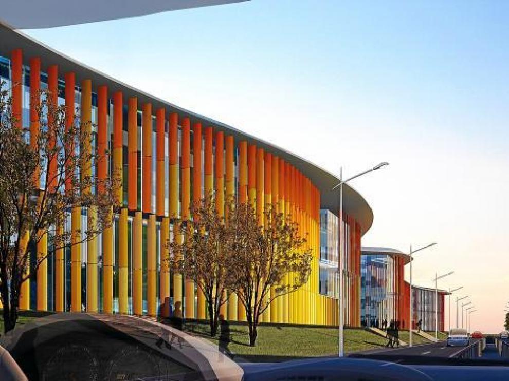 Recreación de los pabellones situados junto a la Ronda del Rabal, que se entregarán a finales de 2010.