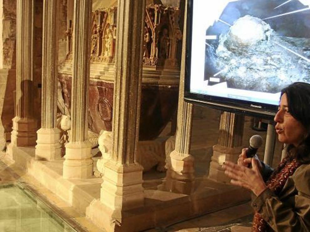Marina Miquel, del Museo de Historia de Cataluña, en la presentación del proyecto