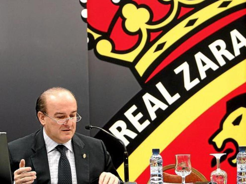 Eduardo Bandrés, en la última Junta General de accionistas del Real Zaragoza