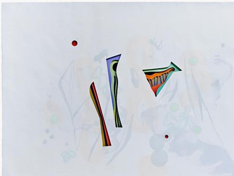 La obra 'Un paraíso' (2009) con sus capas, sus veladuras y estratos, y las manchas de color