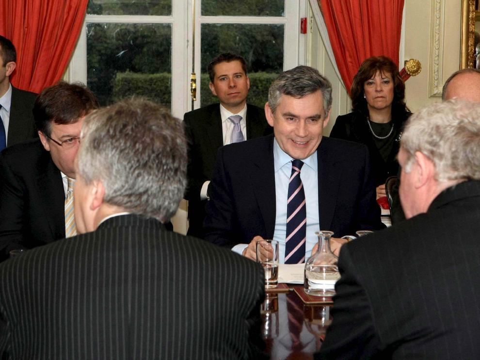 El primer ministro británico, durante la reunión