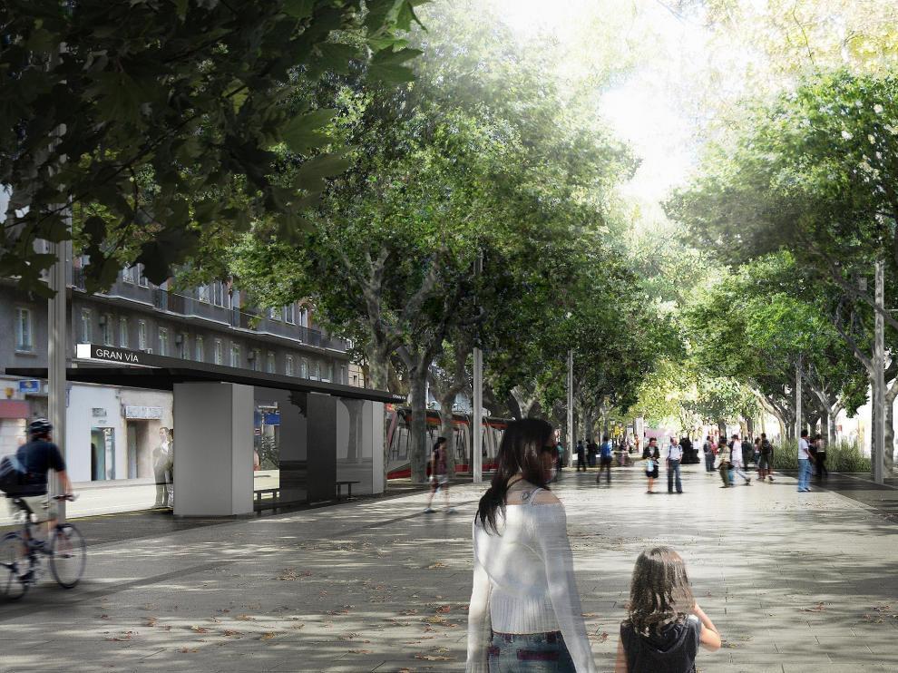La reforma urbana que acompaña al tranvía ampliará el espacio peatonal de los bulevares