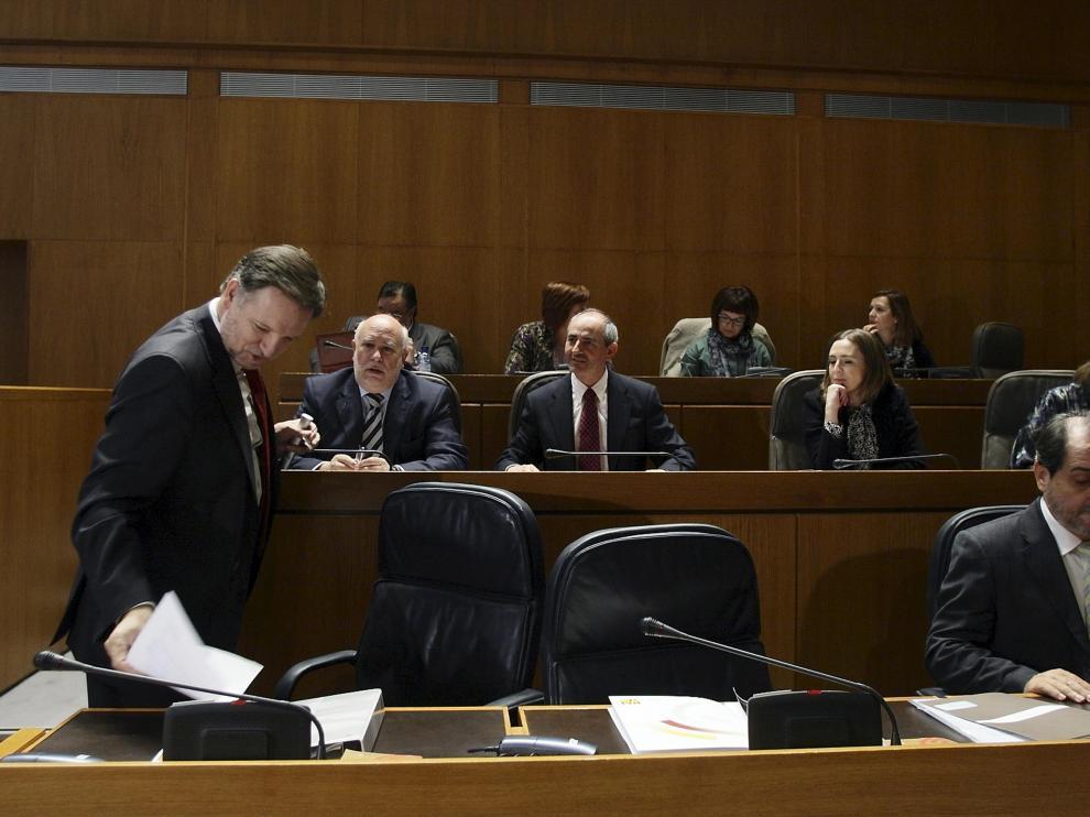 Iglesias (izda.), el pasado noviembre, en su única comparecencia en las Cortes solicitada por el PP.