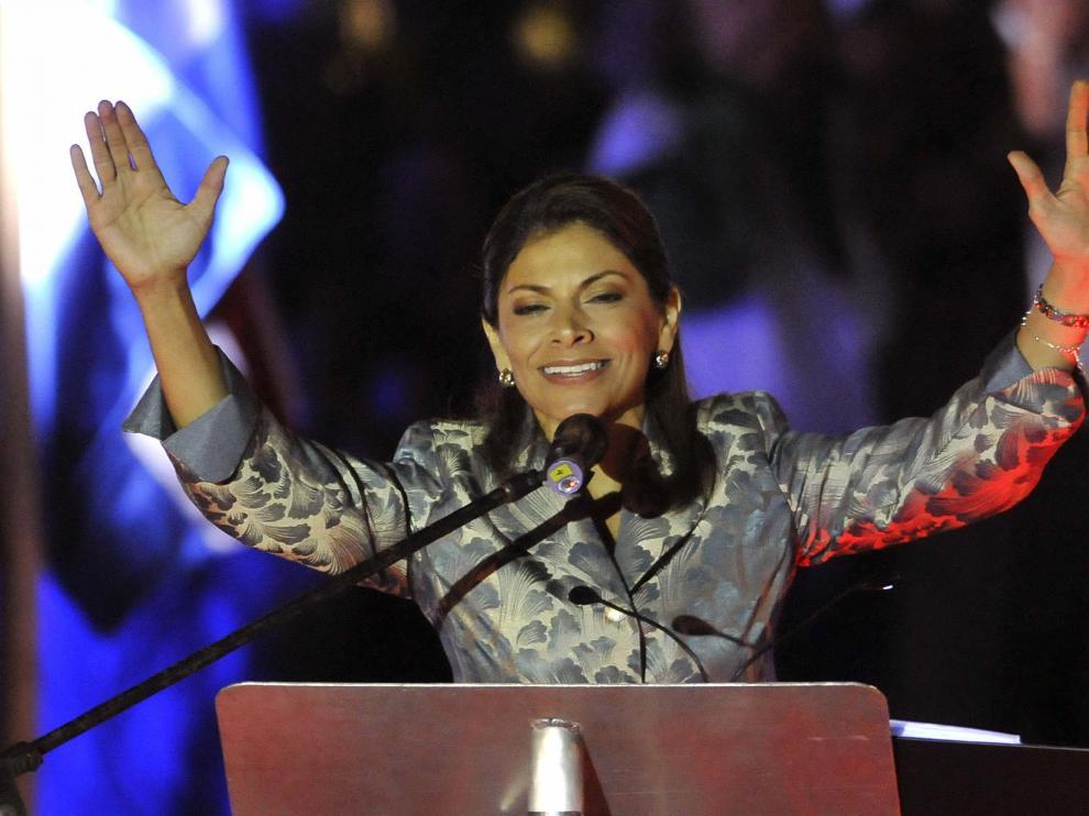 Laura Chinchilla celebra su victoria en las urnas