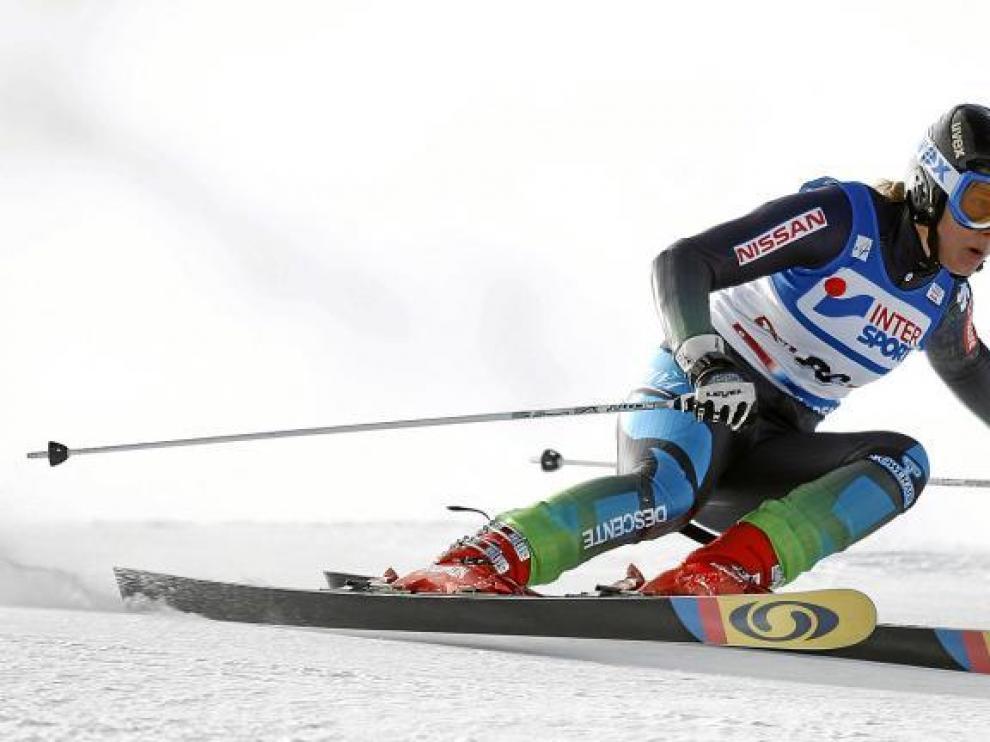 La esquiadora aragonesa Leyre Morlans, durante una prueba de la Copa del Mundo