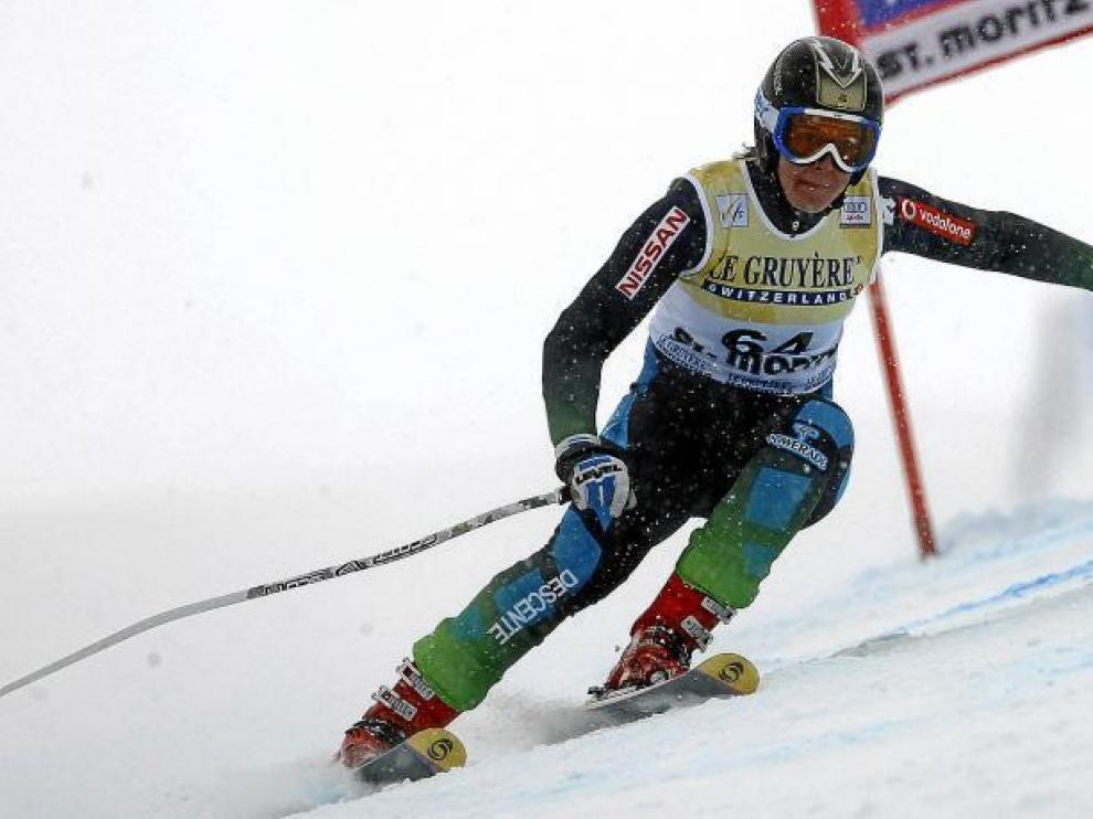 La aragonesa Leyre Morlans, durante una prueba de la Copa del Mundo de esquí.
