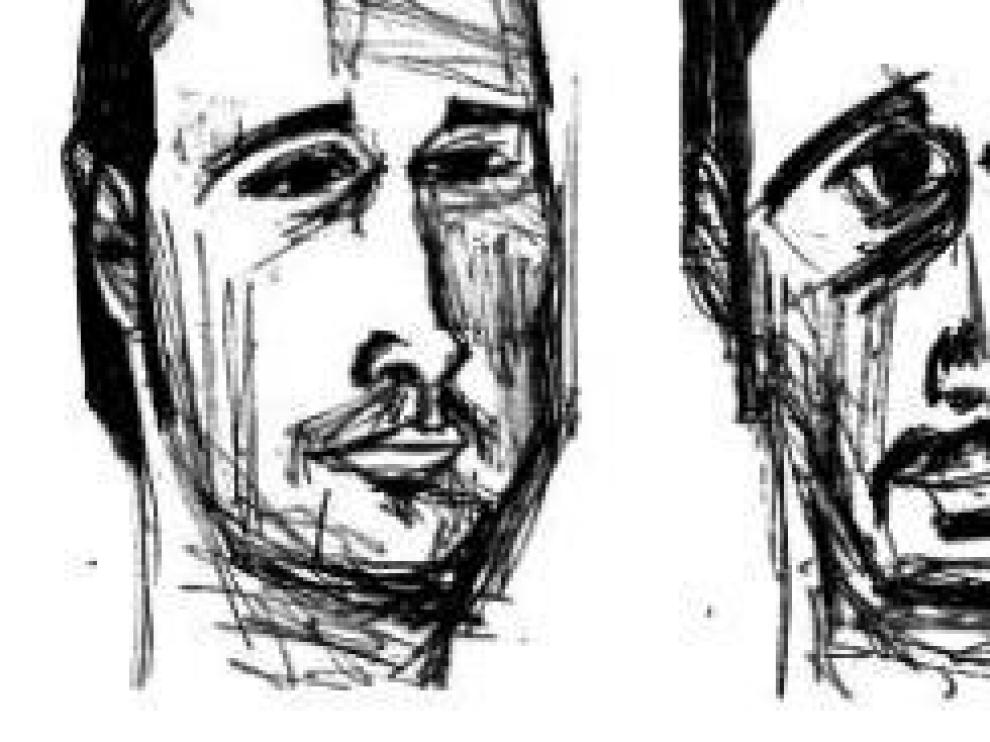 Autoretrato de José Moñú, grafito sobre papel, realizado en 2004 y que se incluye en el catálogo de su última exposición 'Testigo ocular'.