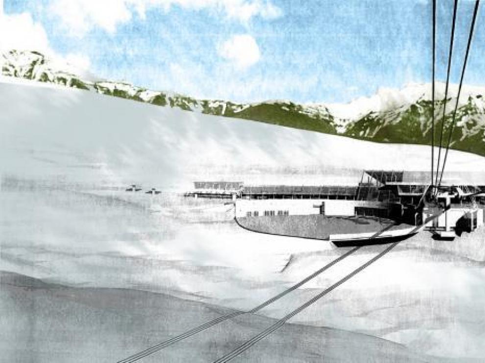 Recreación coloreada por HERALDO del edificio de servicios del frente de nieve de Castanesa