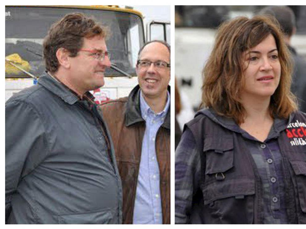 Los cooperantes secuestrados: de izquierda a derecha, Roque Pascual, Alicia Gámez y Albert Vilalta.