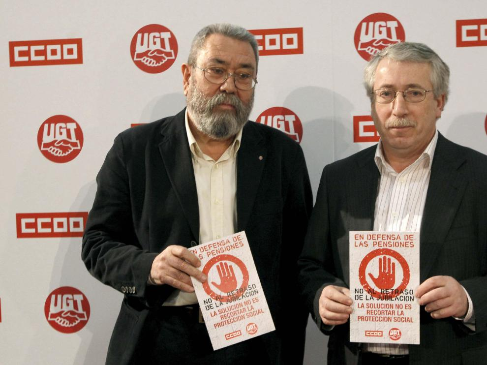 Los secretarios generales de UGT, Cándido Méndez, y de CC. OO. Ignacio Fernández Toxo.