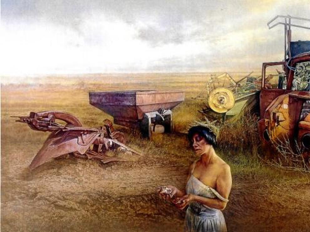 El pintor Eduardo Laborda retrató a su compañera Iris Lázaro como una diosa en medio del paisaje soriano