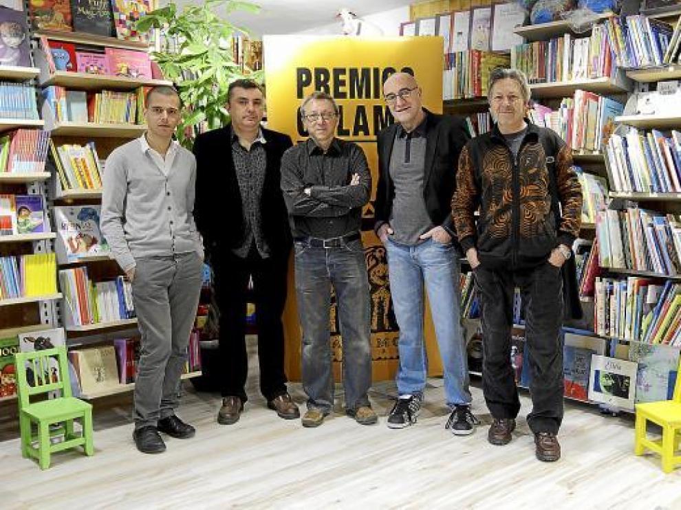 De izquierda a derecha, Abdelá Taia, Manuel Vilas, Francisco Goyanes, Antonio Altarriba y Kim