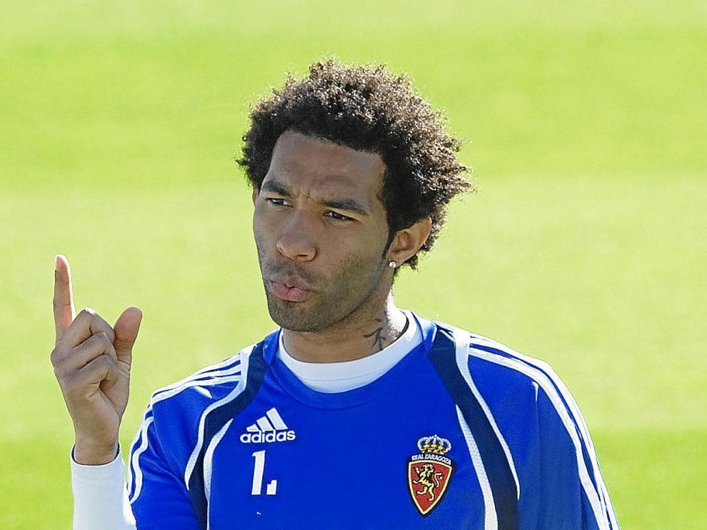 Pennant, en un entrenamiento del Real Zaragoza