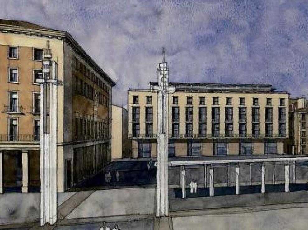 Aspecto de la fachada del edificio, incluida en el anteproyecto presentado en su día