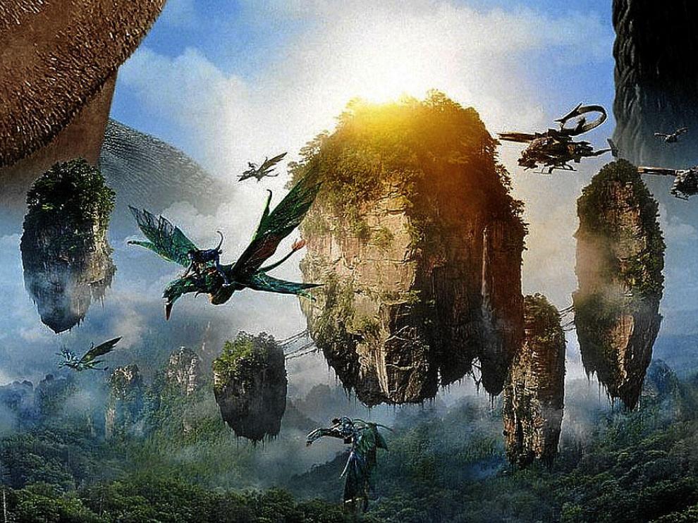 Fotograma de 'Avatar' en el que se aprecian los 'Ikran' sobre los que vuelan los cazadores na'vi