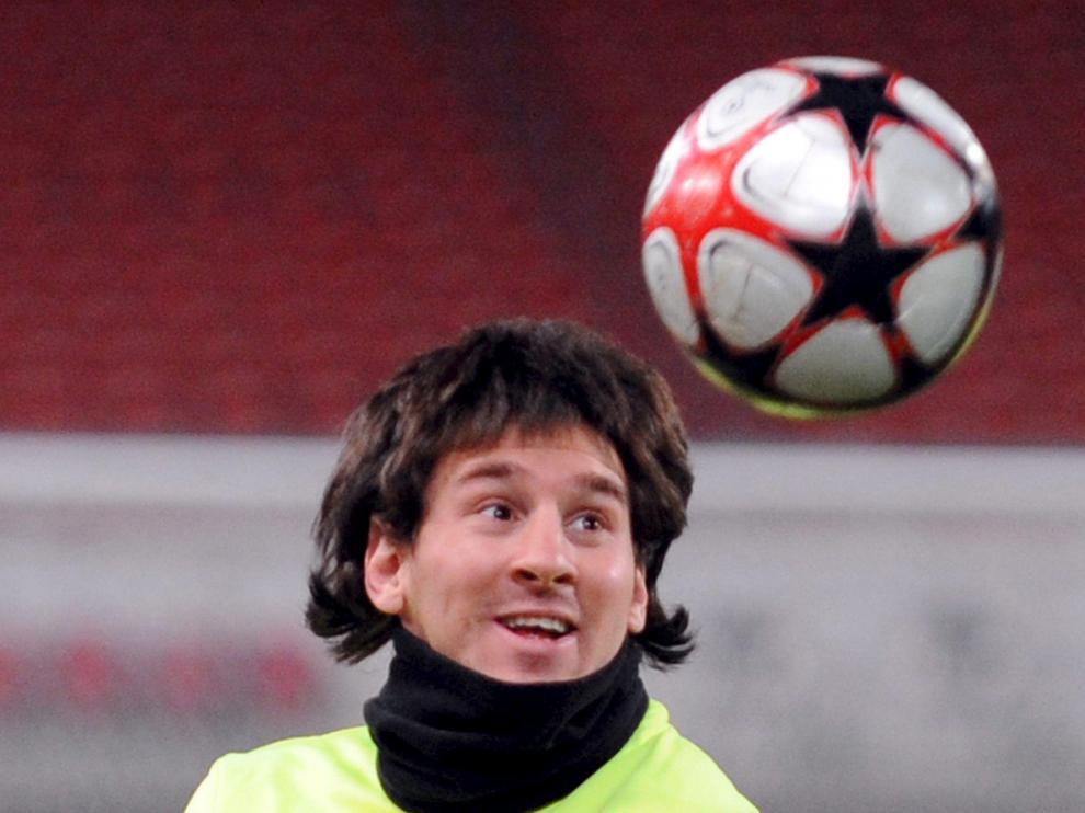 Leo Messi, durante el entrenamiento de ayer en Stuttgart