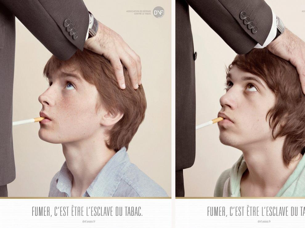 Tres de las fotos de la campaña destinada a los jóvenes 'Fumar es ser esclavo del tabaco'.