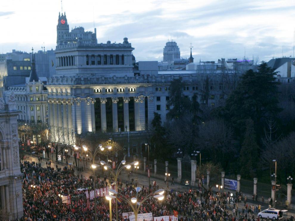 Asistentes a la manifestación convocada en Madrid
