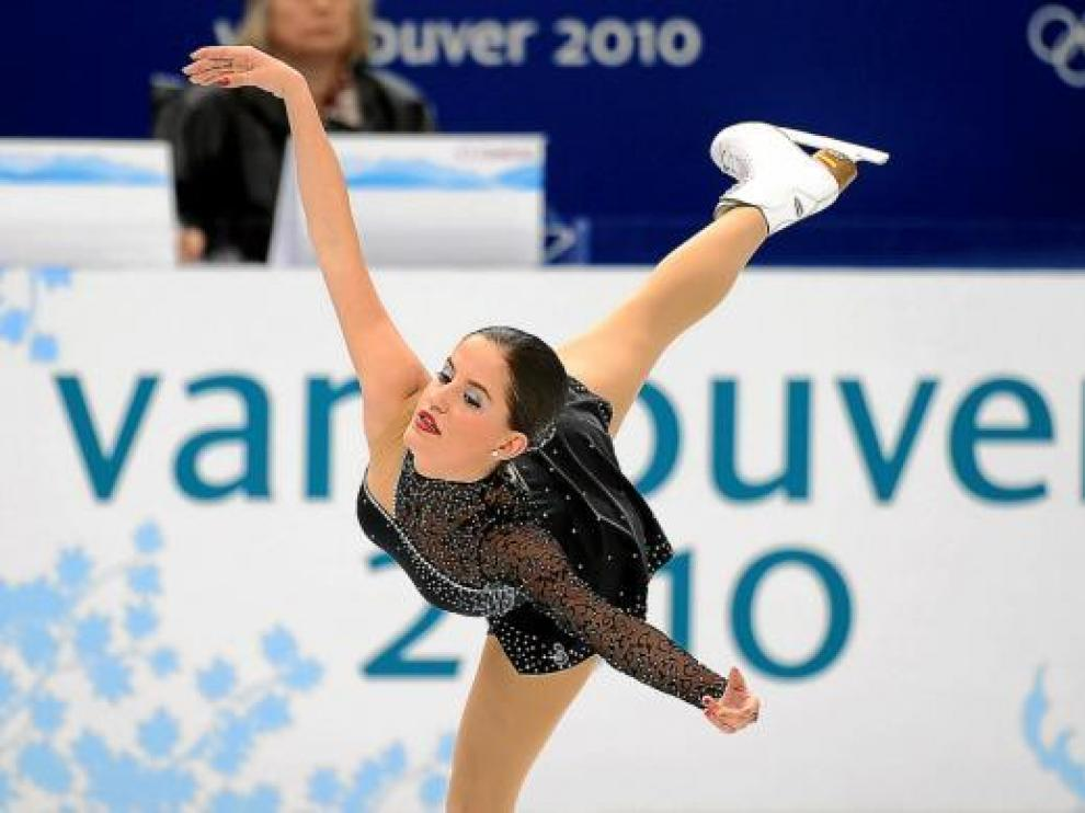 La española Sonia Lafuenta, durante su actuación en el programa corto de patinaje artístico.
