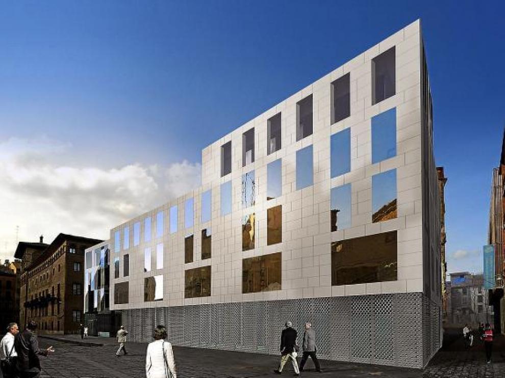 Recreación de la futura sede de la Audiencia de Zaragoza, en la fachada que da a la calle de Galo Ponte