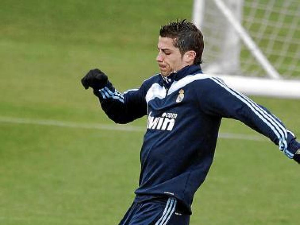 Cristiano, en un entrenamiento de esta semana.