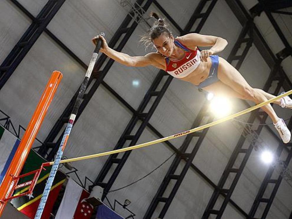 La atleta rusa Yelena Isinbayeva, durante su reciente participación en el Mundial de Doha.