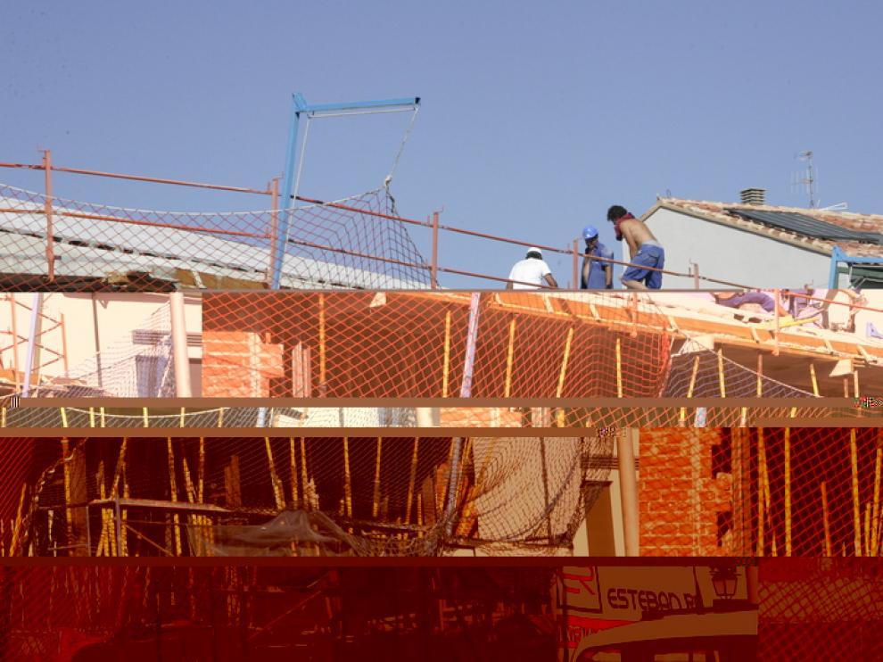 Trabajadores de la construcción en una obra.