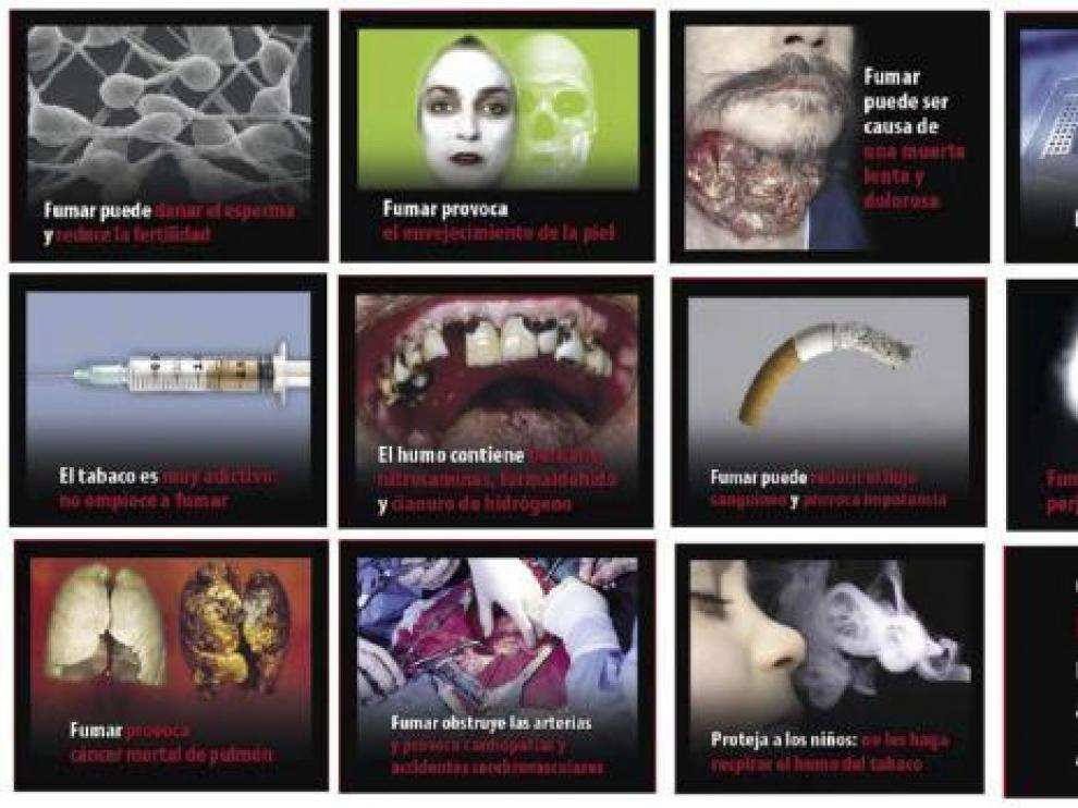Algunas de las imágenes con mensaje que pueden verse en las cajetillas de tabaco.