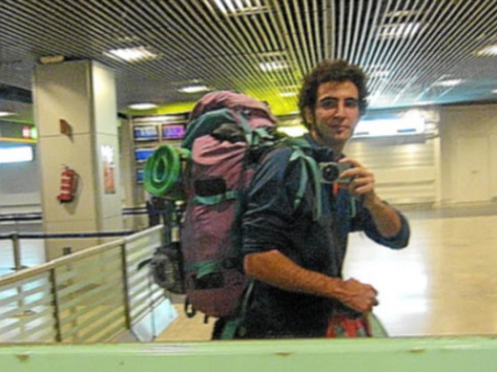 Paco Sanmartín, de Zaragoza, en uno de sus viajes.
