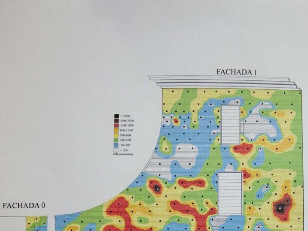 Detalle del mapa de sales de una de las fachadas. El color más intenso indica mayor acumulación de sales