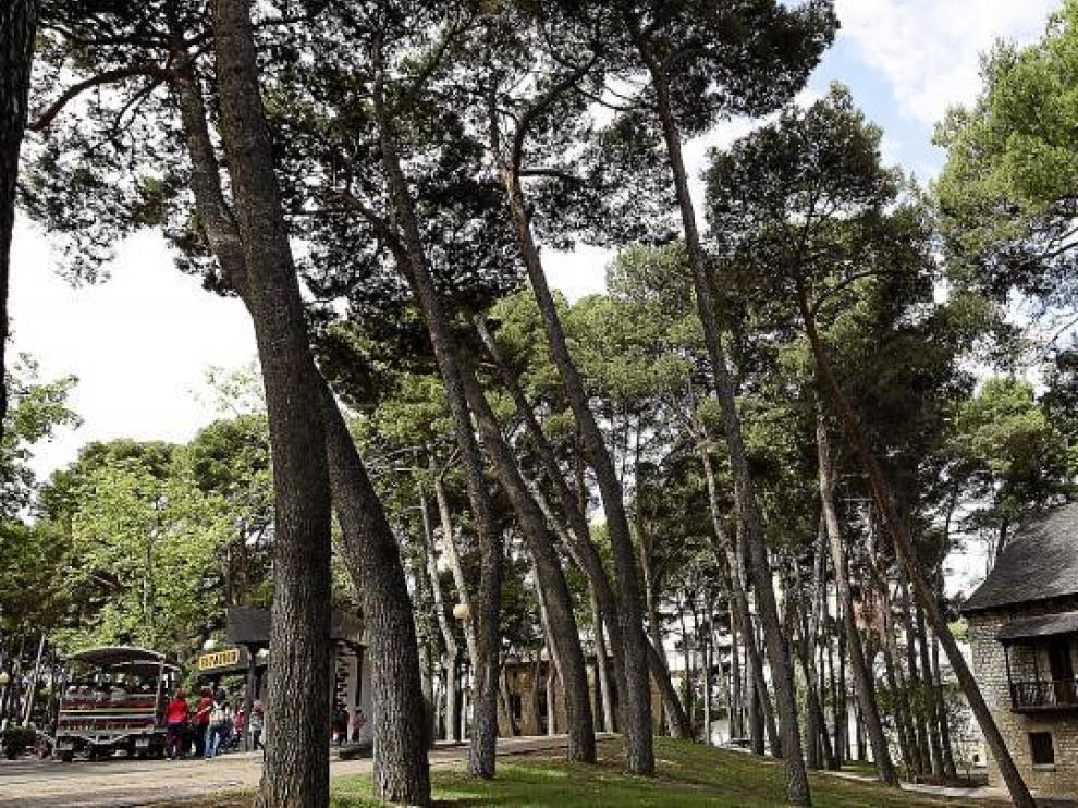 Aspecto actual de la Casa Ansotana, situada a orillas del Huerva, en el parque Grande, cerca de la estación del trenecito turístico.