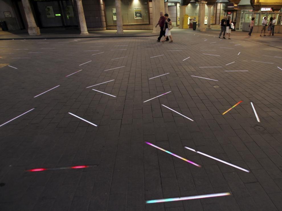 La plaza del Torico, iluminada