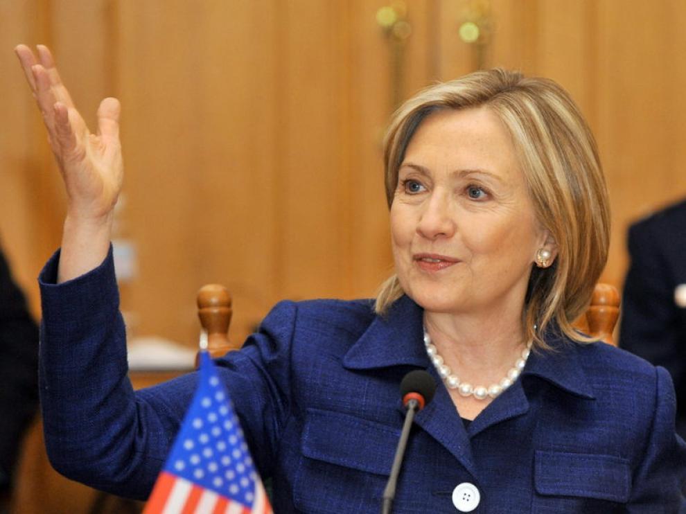 Hillary Clinton durante su visita a Kiev