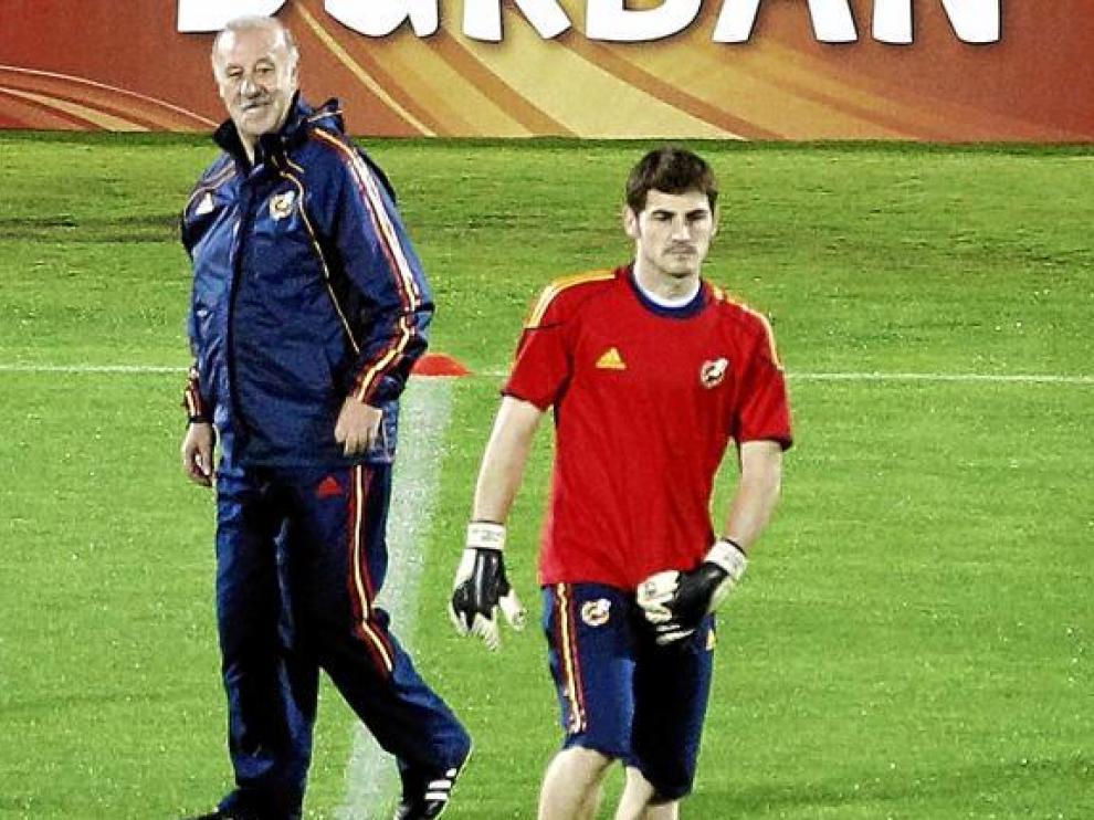 Del Bosque y Casillas, en la sesión de ayer.