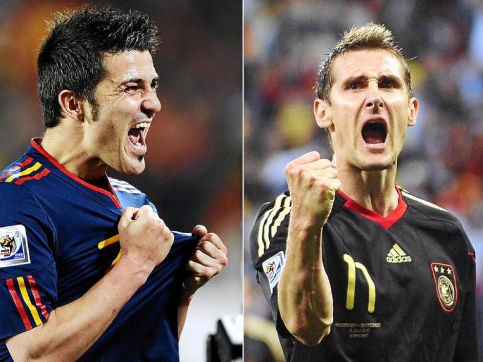 David Villa y Miroslav Klose, los goleadores de España y Alemania.