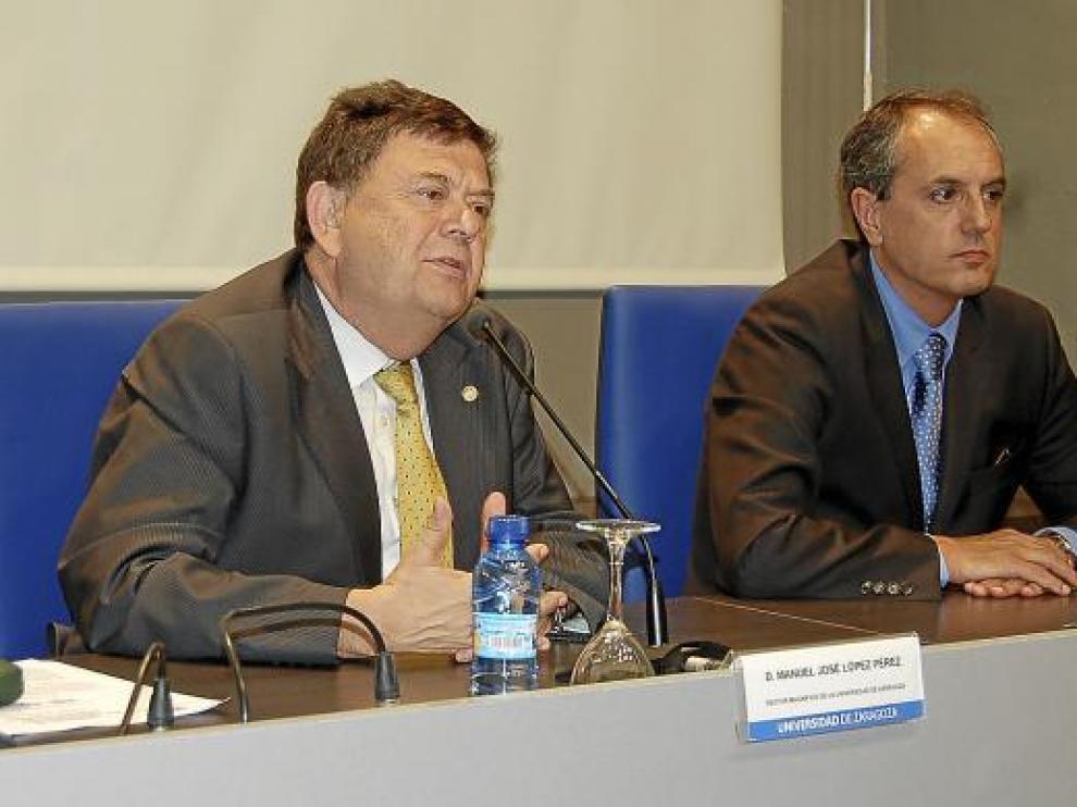 Manuel López, rector de la Universidad de Zaragoza, y José Antonio de Paz, presidente de HP España.