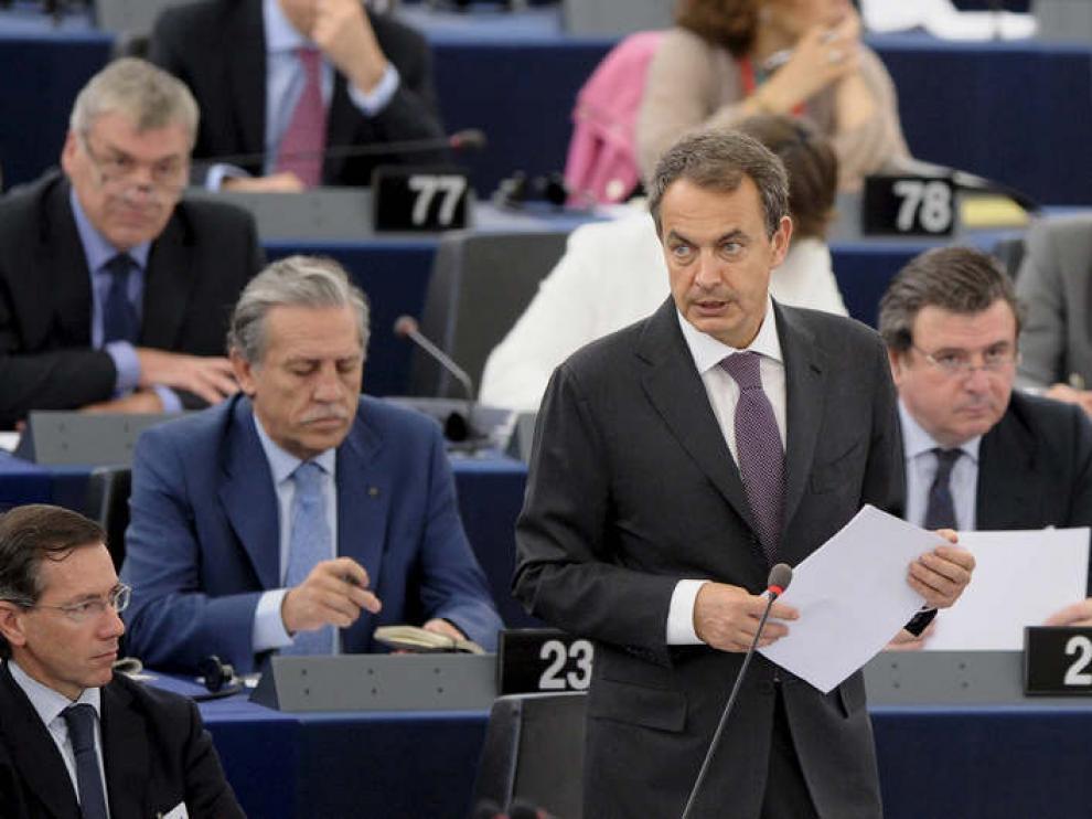 Zapatero habla ante el Pleno del Parlamento Europeo de Estrasburgo