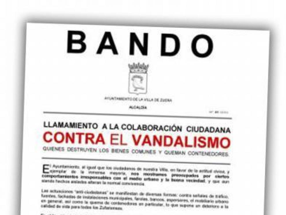 Zuera apela a la colaboración ciudadana ante el repunte de los actos vandálicos