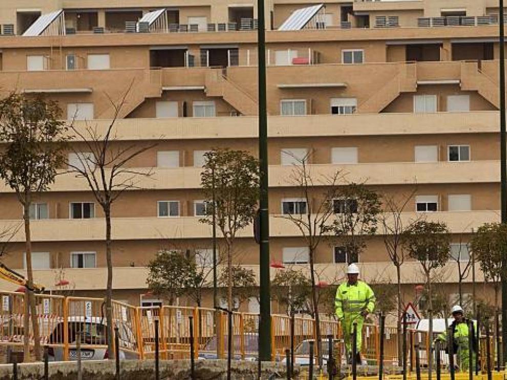 Edificio en Valdespartera, una de las zonas de Zaragoza con mayor número de viviendas protegidas construidas.
