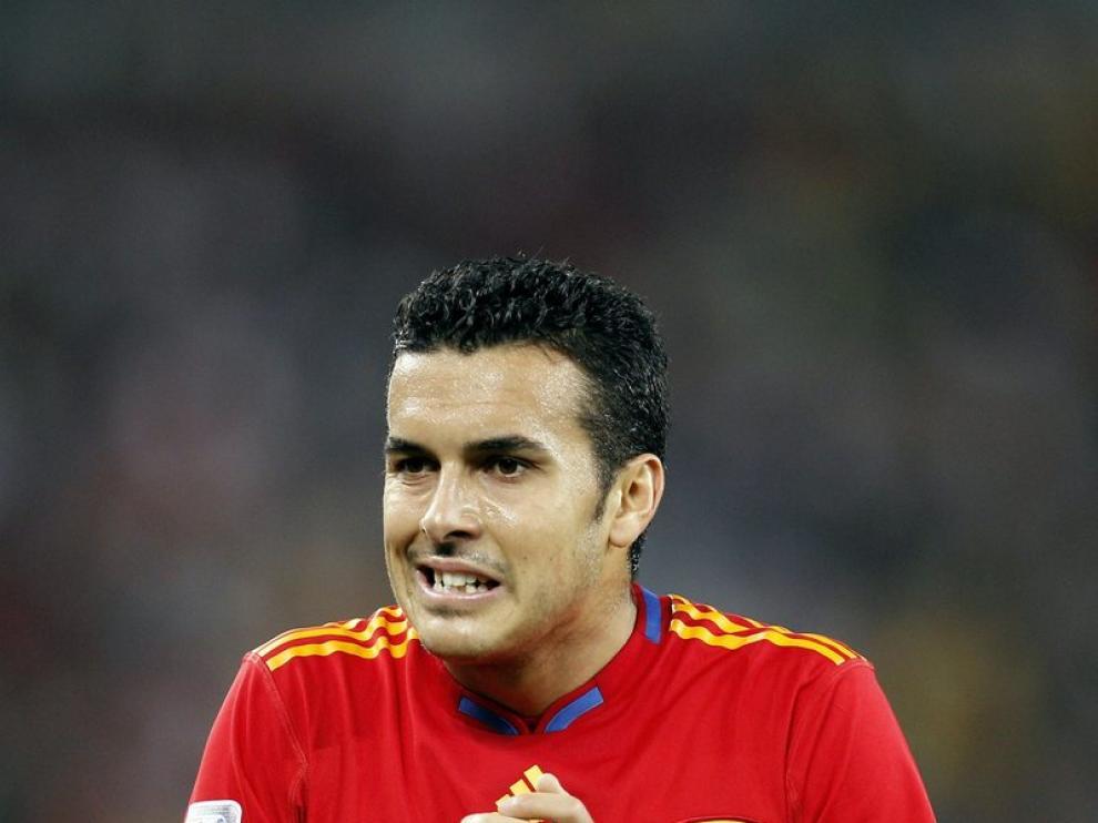 Pedro durante el partido ante Alemania.
